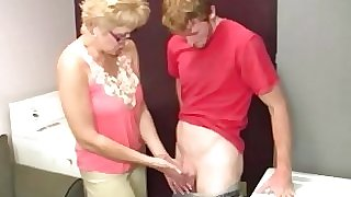 Blonde spex mature slobbers on hard cock