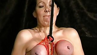 Extraordinary mature slave girls hooded orb bondage and vicious tit