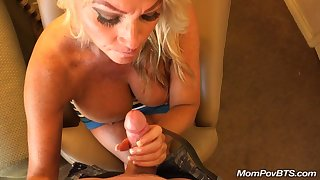 Meaty boobed mature sucks and fucks long boner in POV
