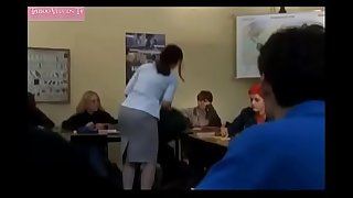 Modest mature schoolteacher pulverizes with student-boy - Sex scene from vid