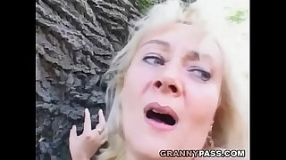 Busty Mature Receives Facial Cumshot Outdoor